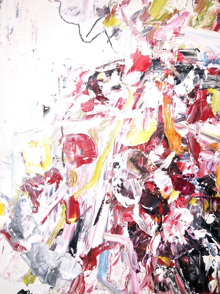 Abstract expressionist oil painting, Yangyang Pan, Let Go - Beige Abstract Painting by YangYang Pan