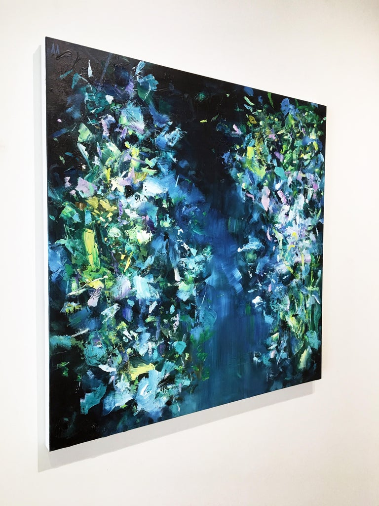 Abstract expressionist oil painting, Yangyang Pan, Moon River - Abstract Expressionist Painting by YangYang Pan