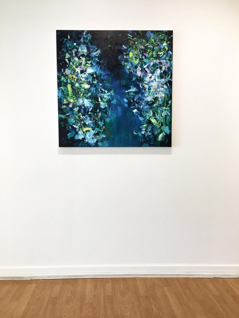 Abstract expressionist oil painting, Yangyang Pan, Moon River - Blue Abstract Painting by YangYang Pan