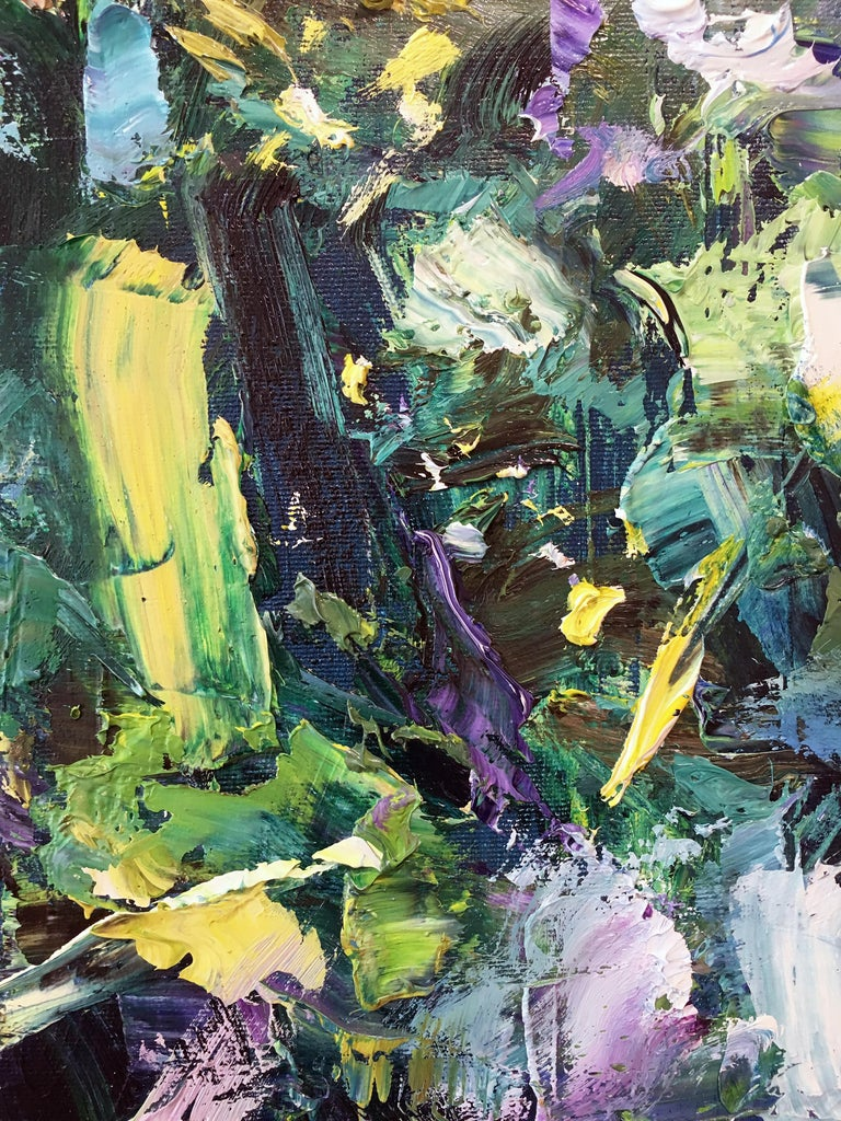 'Moon River' 2019 by Chinese/Canadian artist Yangyang Pan. Oil on canvas, 36 x 36 in. This beautiful abstract-impressionistic garden landscape painting incorporates large gestural brush strokes in rich colors of dark blue, light blue, yellow, green,