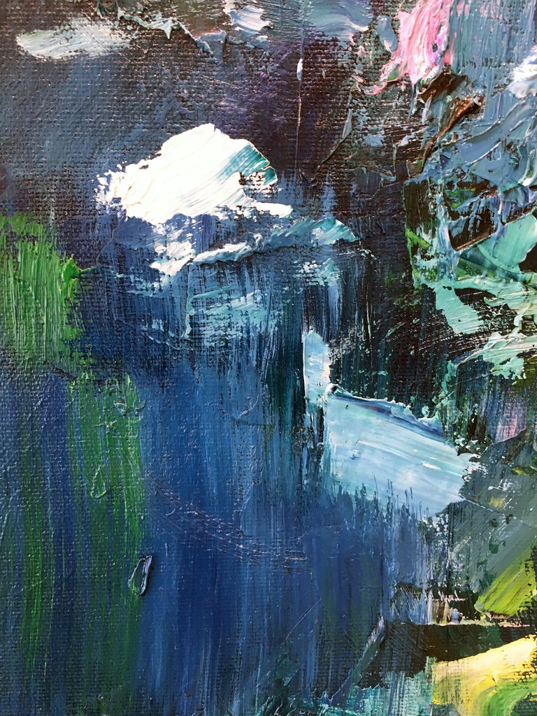 Abstract expressionist oil painting, Yangyang Pan, Moon River For Sale 2