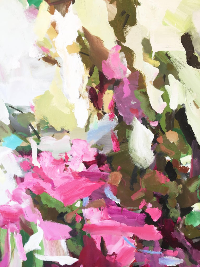 'Inspired Bright' 2017-18 by Chinese/Canadian artist Yangyang Pan. Oil on linen, 60 x 72 in. This beautiful abstract-impressionistic garden landscape painting incorporates large gestural brush strokes in rich colors of pink, purple, yellow, green,