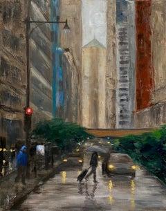 La Salle Street, Rainy Day, Oil Painting