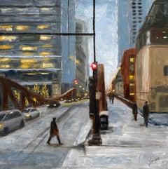 Winter, LaSalle St, #1, Oil Painting