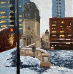 Winter, LaSalle St, #2, Oil Painting