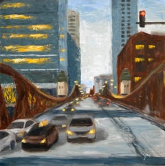 Winter, LaSalle St, #3, Oil Painting