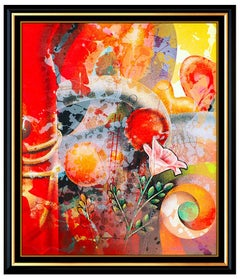 Yankel Ginzburg Original Acrylic Painting On Board Signed Modern Abstract Art