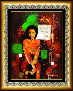 YANKEL GINZBURG Original PAINTING Oil On CANVAS Authentic Signed Nude Portrait