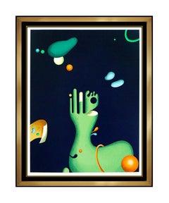 Yankel Ginzburg Original Color Silkscreen Abstract Hand Signed Sea Plants Art