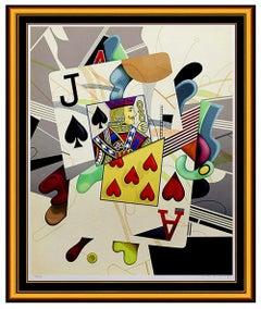 YANKEL GINZBURG Original Signed Serigraph Blackjack Abstract Art Cards Oil LARGE