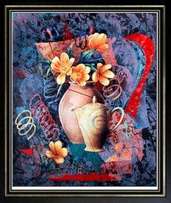 Yankel GINZBURG Original Silkscreen Abstract Signed Artwork Pop Art Tea Flower