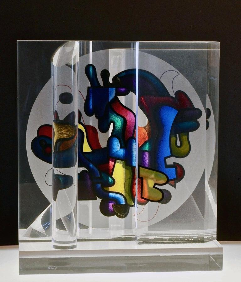 Artist: Yankel Ginzburg, Khazakhstan-American (1945 - ) Title: Sphere Year: Circa 1985 Medium: Screenprint on Lucite Sculpture, signature and numbering inscribed Size: 13.5 x 12 x 6 in. (34.29 x 30.48 x 15.24 cm)
