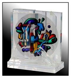 Yankel Ginzburg Authentic Original Sphere Acrylic Sculpture Signed Rare Artwork