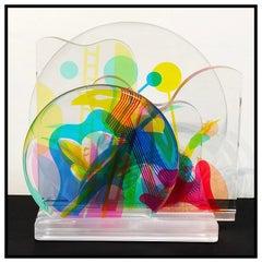 Yankel Ginzburg Original Acrylic Sculpture Hand Signed Modern Breeze Artwork SBO