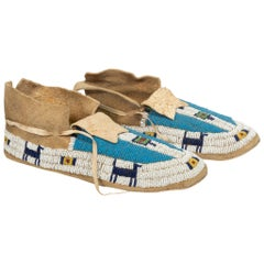 Yankton Sioux Beaded Pictorial Moccasins