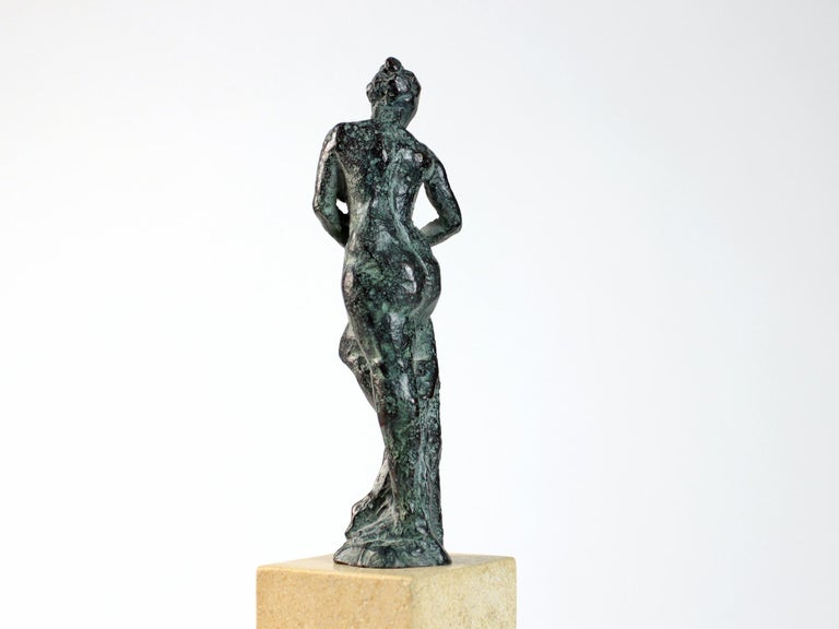 Bather II is a bronze sculpture by French contemporary artist Yann Guillon. 14 cm × 8 cm × 5 cm. Available in limited edition of 8 + 4 artist's proofs, each signed and numbered. Yann Guillon focuses his work on the human body, using an expressionist