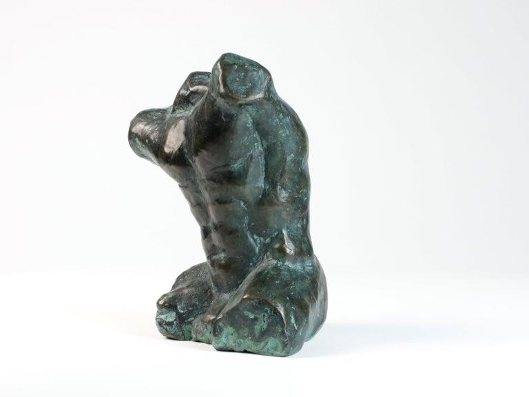 Belenos III,  Bronze Sculpture, Nude Male Torso - Gold Nude Sculpture by Yann Guillon