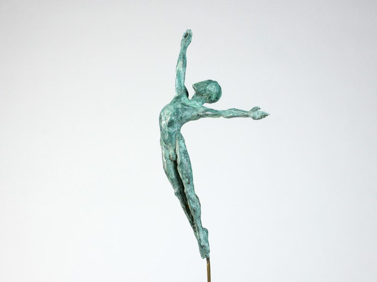 Danseur Attirance II, Male Dancer Bronze Sculpture - Gold Nude Sculpture by Yann Guillon