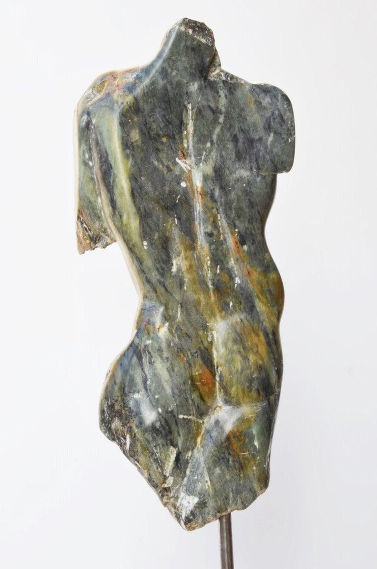 Man's Torso III, Contemporary Stone Sculpture - Gray Figurative Sculpture by Yann Guillon