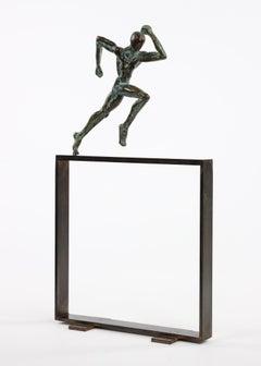 """Small Runner """"Start"""" II by Yann Guillon - Athlete Bronze Sculpture"""
