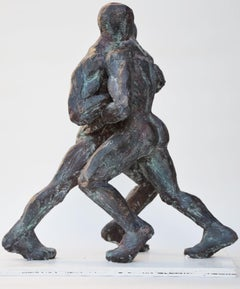 Wrestlers VIII, Nude Male Wrestlers Bronze Sculpture
