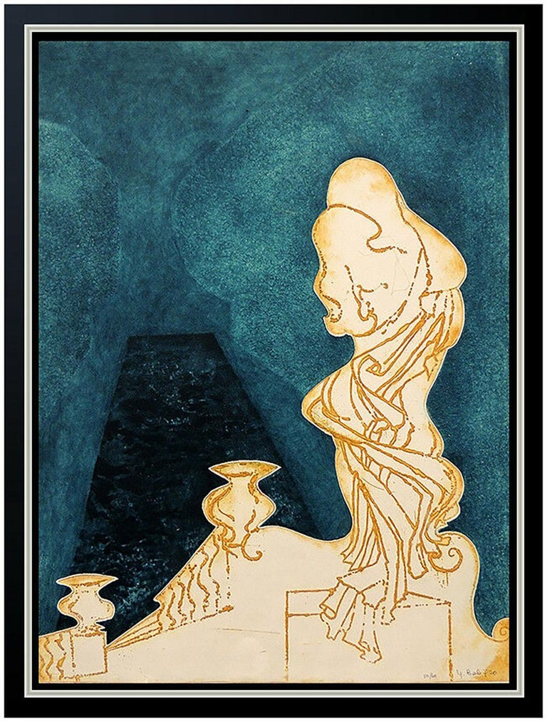 Yannick Ballif Color Etching Carborundum HAND SIGNED Abstract Portrait Artwork - Print by Yannick Ballif