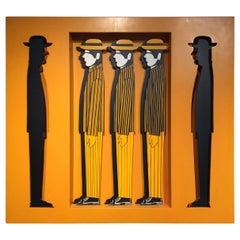 Yannis Gaitis Hand Painted Men Figures Sculpture/ Shadowbox Contemporary Art