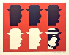 SIX MEN Signed Embossed Lithograph, Men In Hats, Greek Modernist Portrait