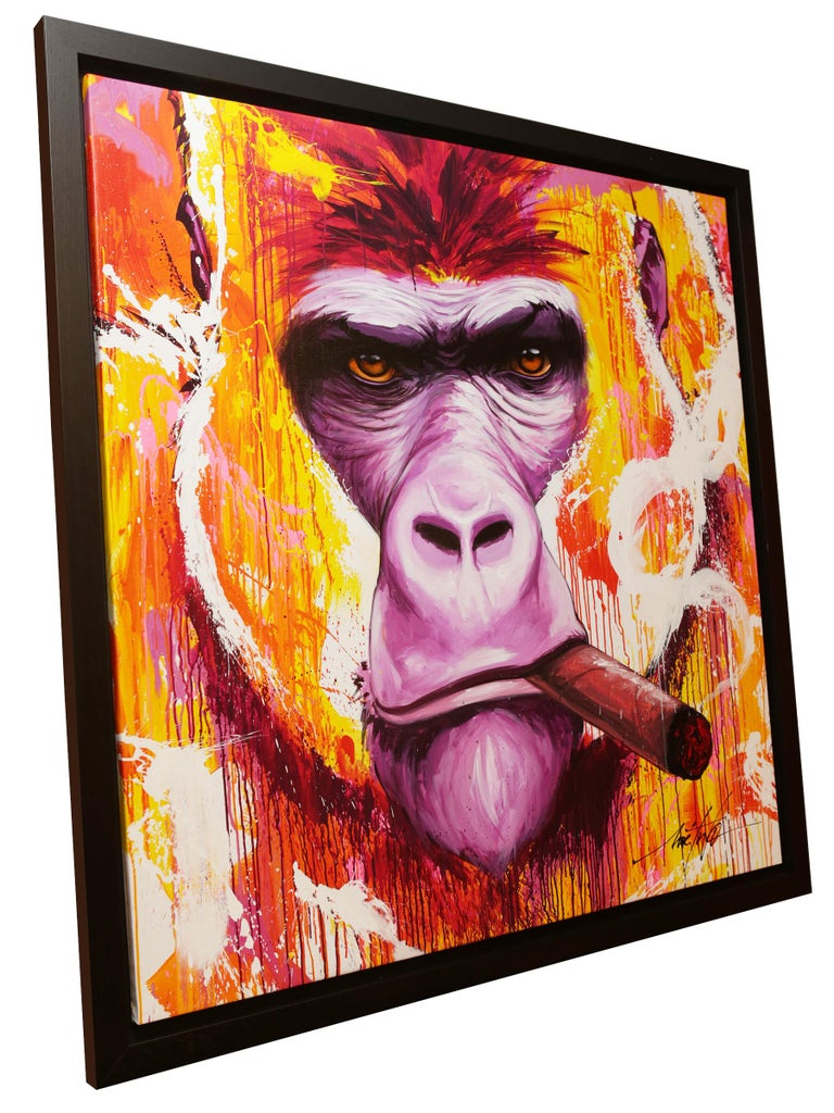 Painting Yaounde smoke a cigar, on canvas: L 140 x W 140cm. Under American black oak wooden frame. Exceptional and unique piece. By Noe Two. Made in France in 2019.