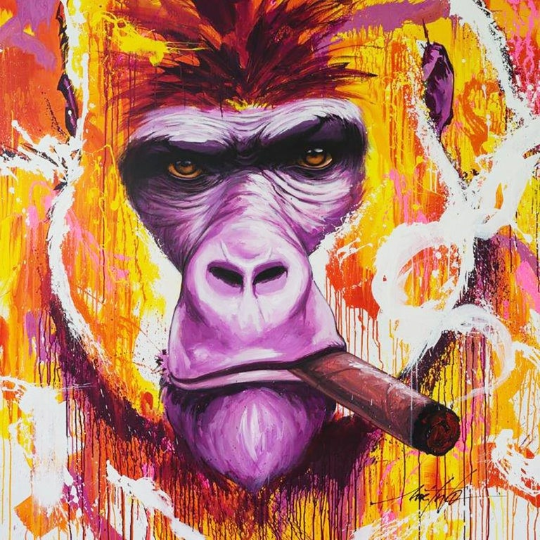 French Yaounde Smoke a Cigar Painting For Sale