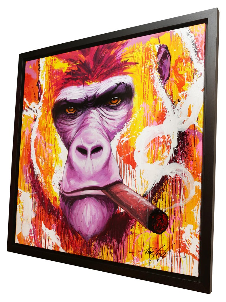 Hand-Crafted Yaounde Smoke a Cigar Painting For Sale