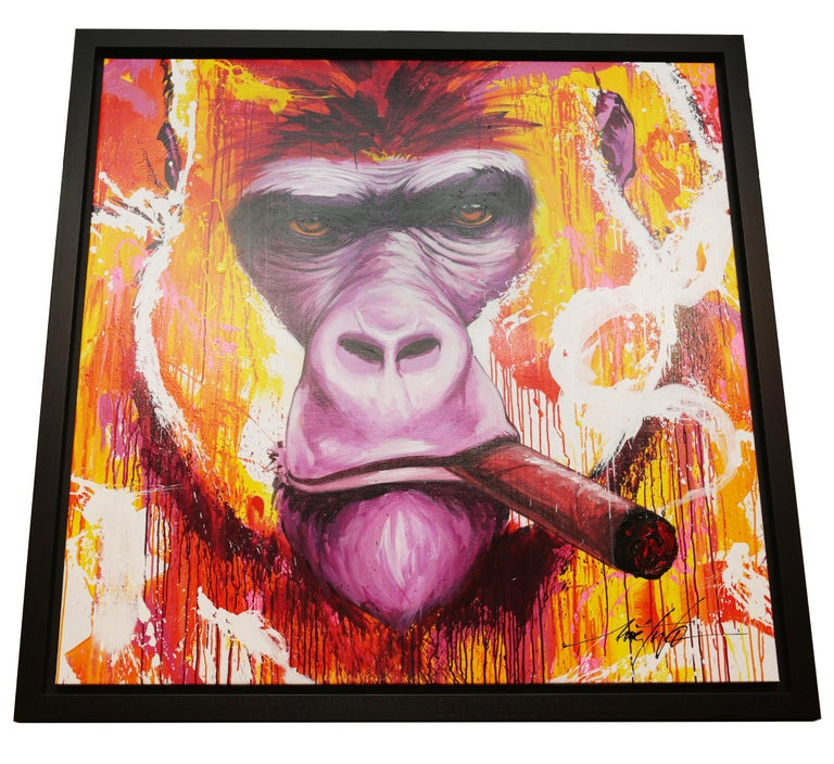 Yaounde Smoke a Cigar Painting In New Condition For Sale In Paris, FR