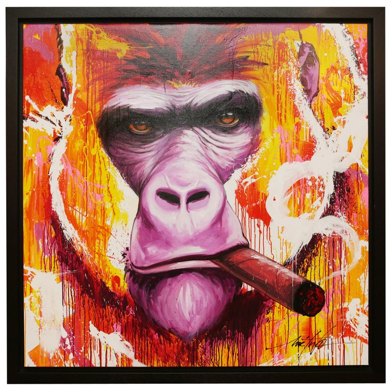 Yaounde Smoke a Cigar Painting For Sale
