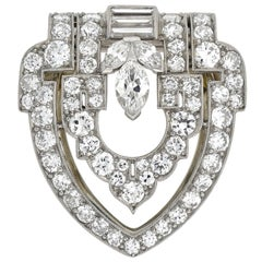 YARD Art Deco Platinum 1.25 Total Carat Diamond Encrusted Fur Clip