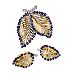 Yard Mid-Century Demi Parure Earclips and Dressclip Sapphire Diamond 14 kt Gold