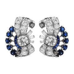 Yard Vinatge Diamond Blue Sapphire Platinum Retro Clip On Earrings