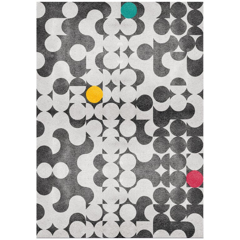 Yarsa Area Rug In Black And White Hand Tufted Wool And Botanical