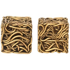 Yascal Bronze Twisted Square Cube Sculptures Signed Pair of