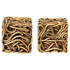 Yascal Signed Bronze Twisted Square Cube Sculptures