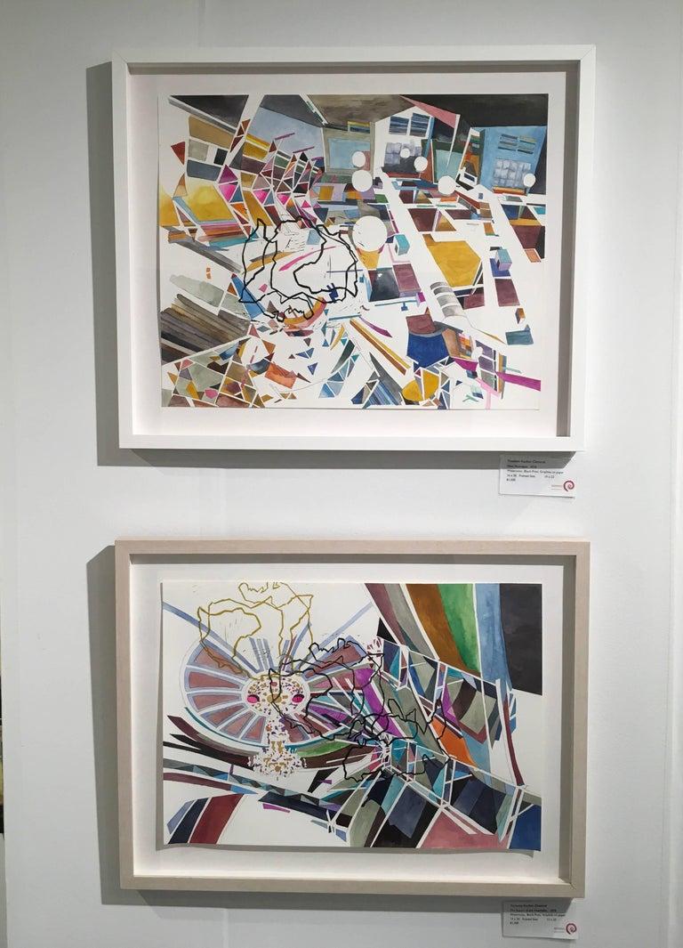 New Nostalgias, Landscape, Interior space, Watercolor, Block print on paper For Sale 1