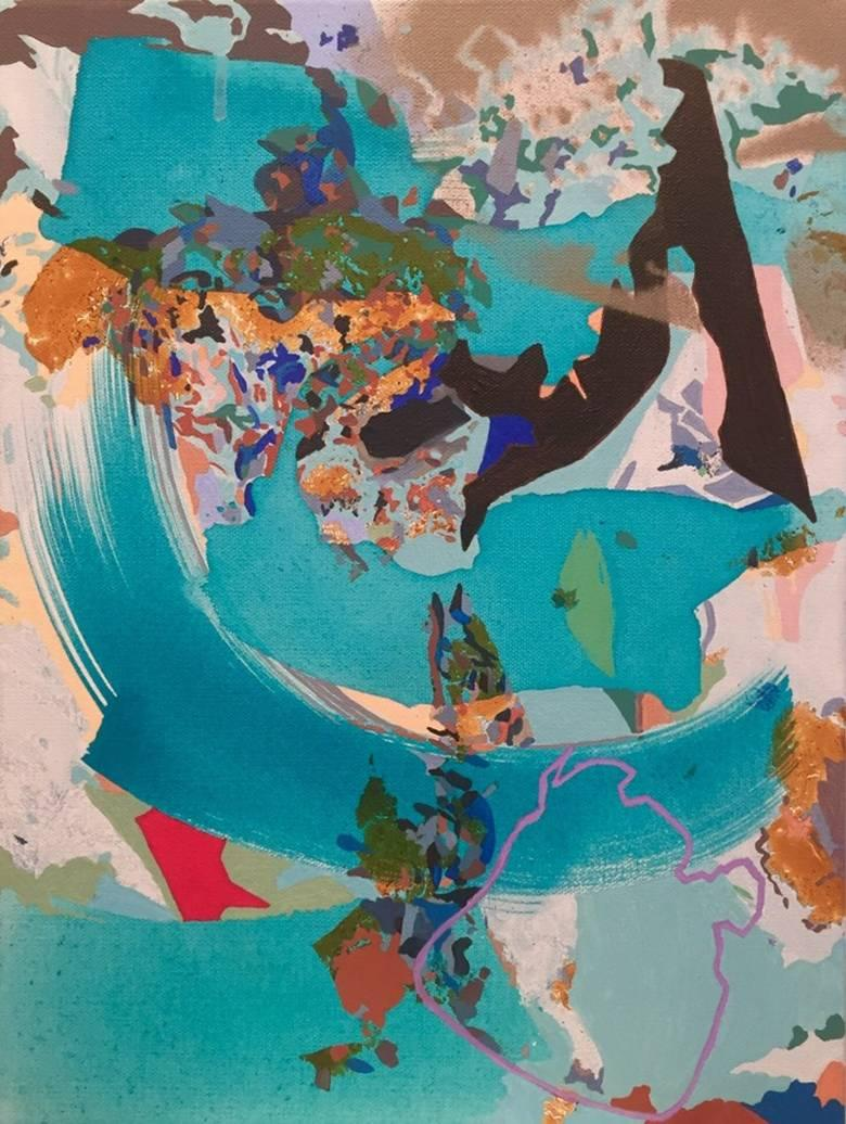 Caught You in my Whirlpool, Mixed Media, Painting, Blue, Acrylic, Ink, Marker