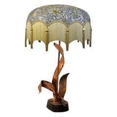 Mid Century Modern Copper & Wood Foliate Figural Table Lamp, Yasha Heifetz 1960s