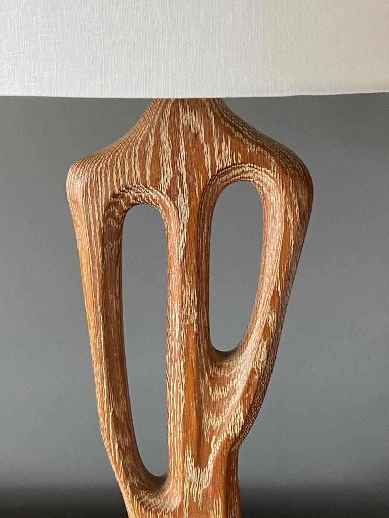 Mid-Century Modern Yasha Heifetz, Rare Organic Table Lamp, Cerused Oak, Black Paint, America 1950s For Sale