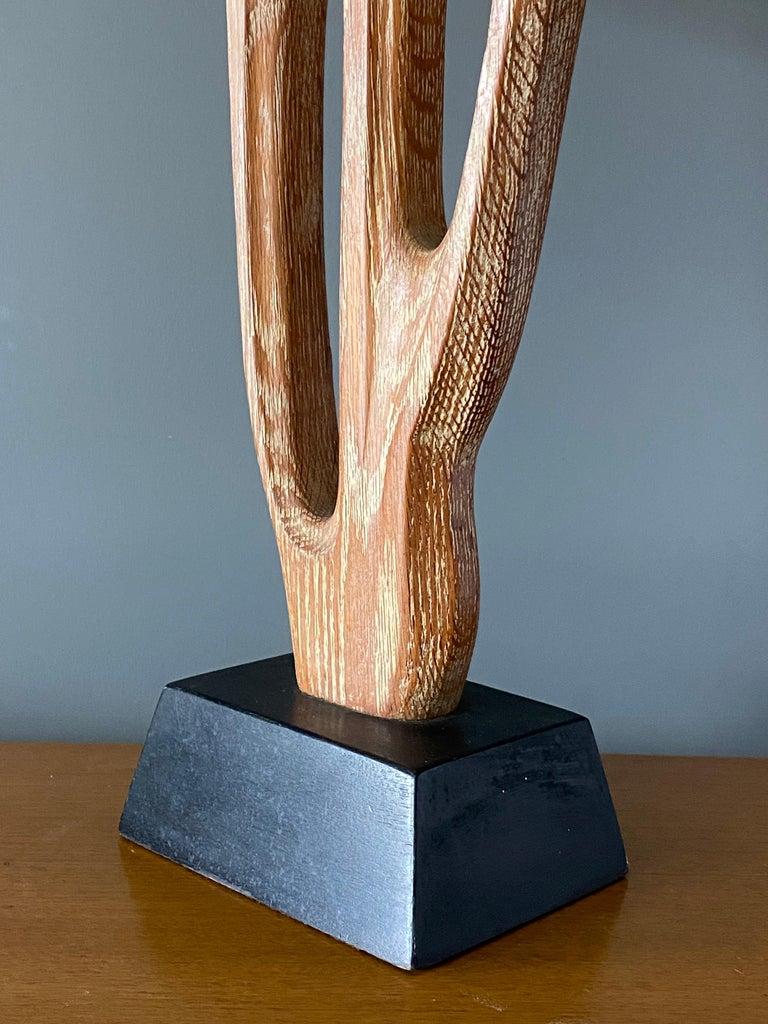 American Yasha Heifetz, Rare Organic Table Lamp, Cerused Oak, Black Paint, America 1950s For Sale