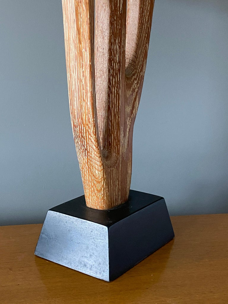 Yasha Heifetz, Rare Organic Table Lamp, Cerused Oak, Black Paint, America 1950s In Good Condition For Sale In West Palm Beach, FL