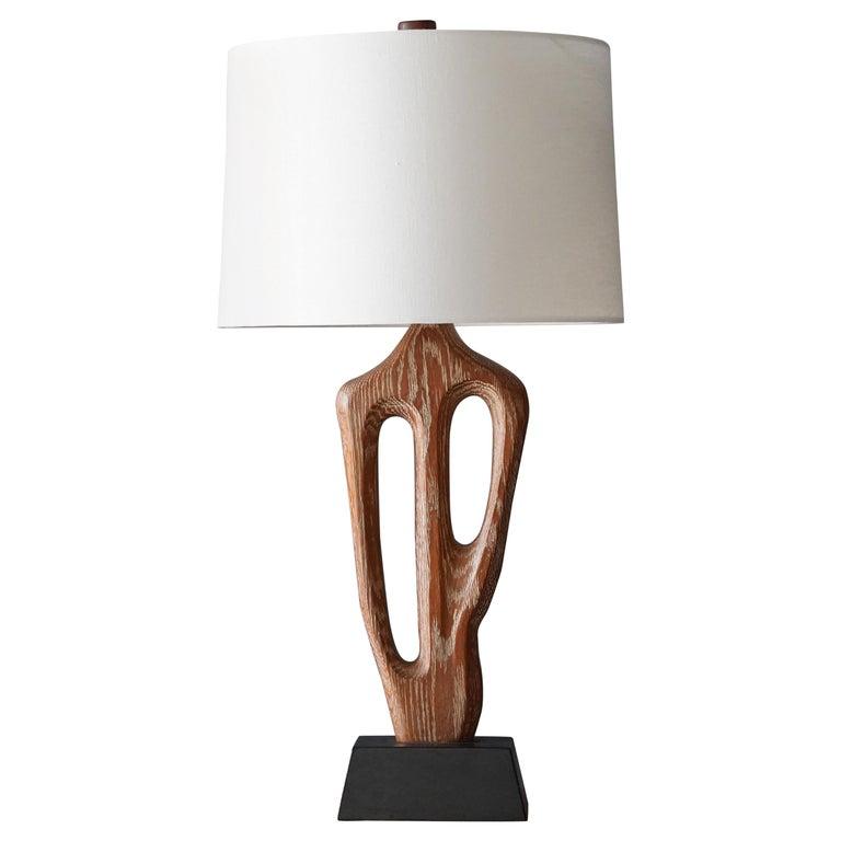 Yasha Heifetz, Rare Organic Table Lamp, Cerused Oak, Black Paint, America 1950s For Sale