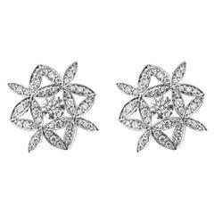 Yasmin Diamond Set Earrings 18 Karat White Gold