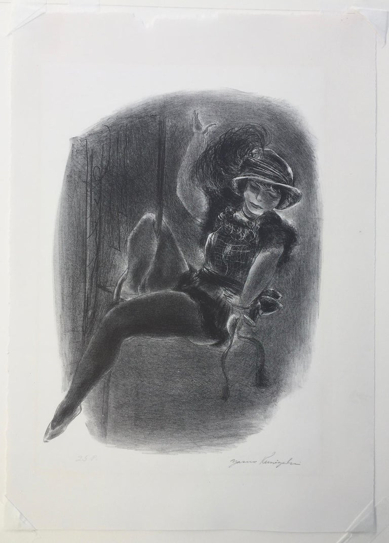 YASUO KUNIYOSHI  (1893 -1957)  CIRCUS GIRL WITH PLUMED HAT, 1933 (D.L60) Lithograph, signed in pencil and annotated 25P (edition of 25).  Image 12 5/8 x  9 3/8 inches. Full margins with deckle edge on 3 sides. On Navarre watermarked paper. Sheet
