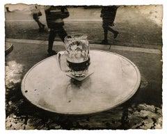 Crisis: Paris, France urban city street cafe w/ beer sepia print w/ handwork