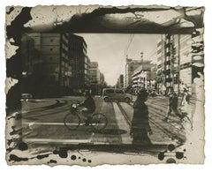 Kochi City, Japan: black & white Japanese urban city photograph w/ handwork